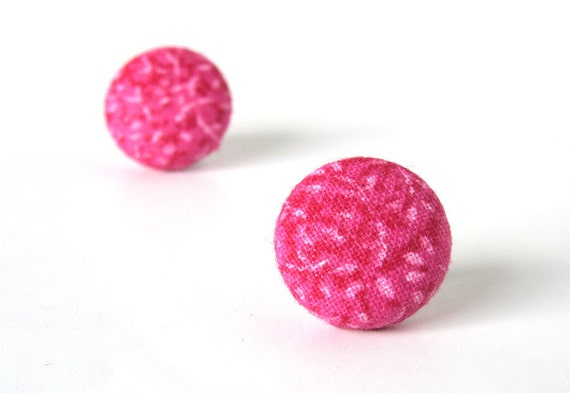 SALE Tiny pink stud earrings - bright fabric covered button earrings - pink round post earrings