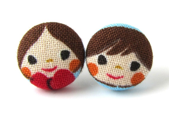 Kawaii earrings girl boy cute couple kid children