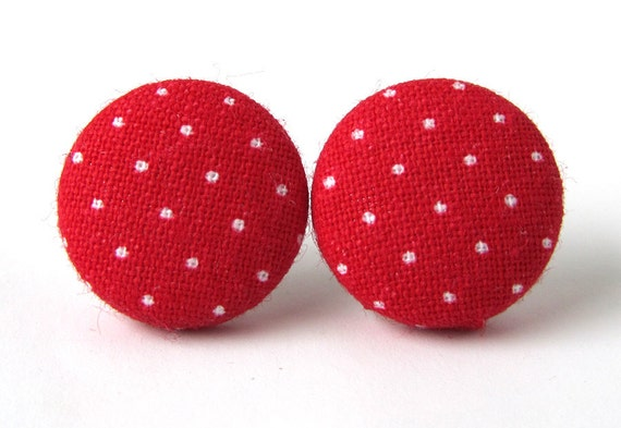 Red white polka dot stud earrings button pin up spring