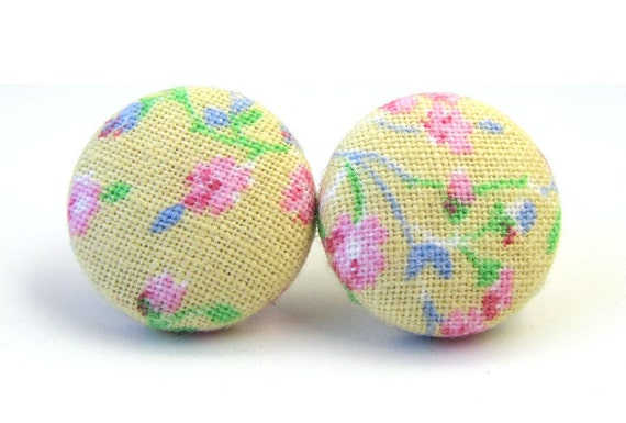 Vintage style stud earrings fabric button spring green blue pink beige
