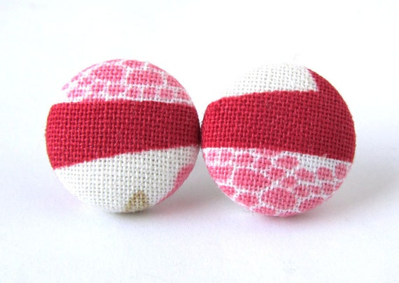 SALE Stud earrings button spring pink red white dots stripe