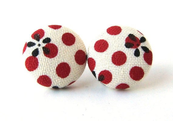 RESERVED Stud earrings button white red pin up dots flower black rockabilly