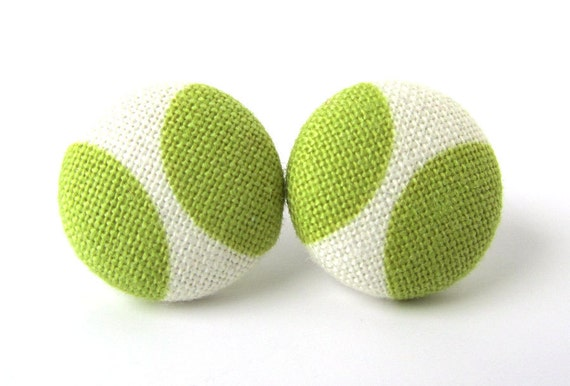 Button earrings green white studs spring pistachio bright