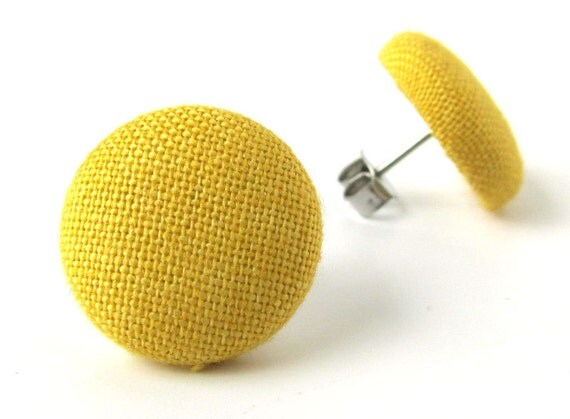 Mustard yellow stud earrings button fall bright sun sunflower happy