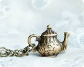 "RESERVED On SALE 20% OFF Teapot necklace ""Tea time"" - Alice in Wonderland - antique bronze - ready to ship"