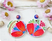 Flower Rainbow earrings. Hand Painted Jewelry. White Red Pink Flower Earrings. Floral fashion. Bright colors