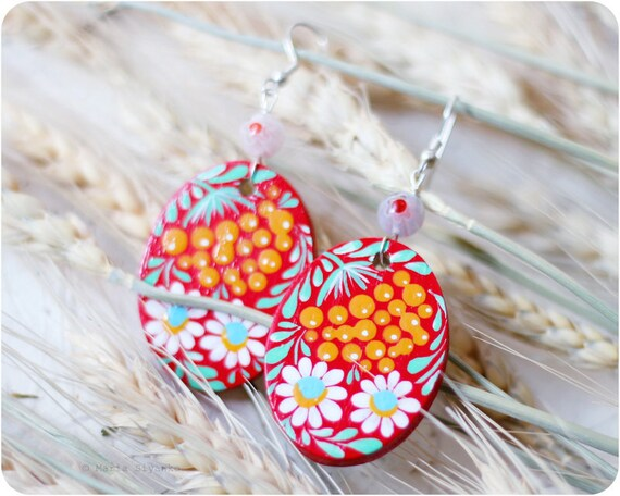 Sea Buckthorn earrings. Hand Painted Jewelry. Red White Yellow Flower Earrings. Floral fashion. Bright colors