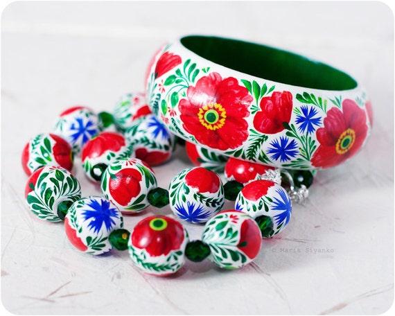 Poppy set - Original & Unique - Hand Painted - Europe - fashion bright colors - middle - gift set