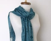 Teal Cotton Scarf Shawl-Floral Design-Ready for shipping-For Ellen