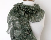 Green Cotton Floral Design Ruffle Shawl Scarf-Ready for shipping