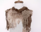 Butterfly Fringy Scarf witf flower brooch- Brown-Ready for shipping-Fall fashion