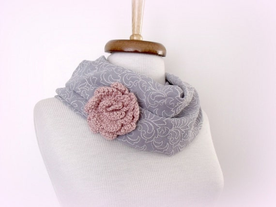 Infinity Loop Circle Ligth Grey Patterned Scarf With Flower Brooch- Ready for shipping-Black Friday and cyber Monday  Sale