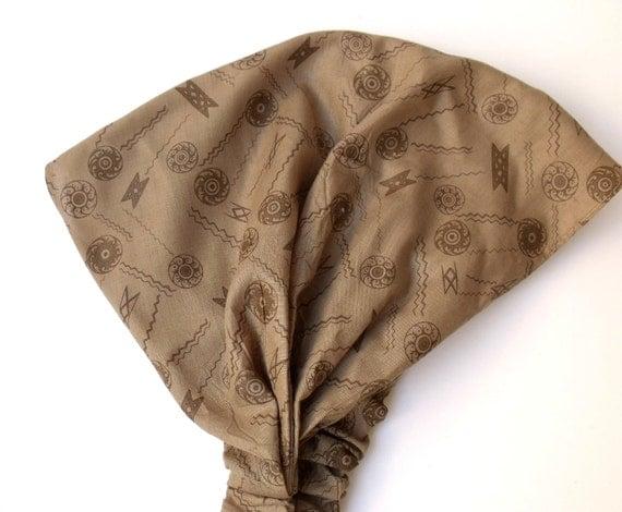 Light Brown -geometric desing bandana-Ready for shipping-For  Women-Fall Fashion