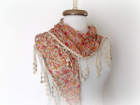 New Womanly Scarf Shawl-Cream,Yellow, Red  floral designs on cream-Cotton Lace Edge-Ready for Shipping