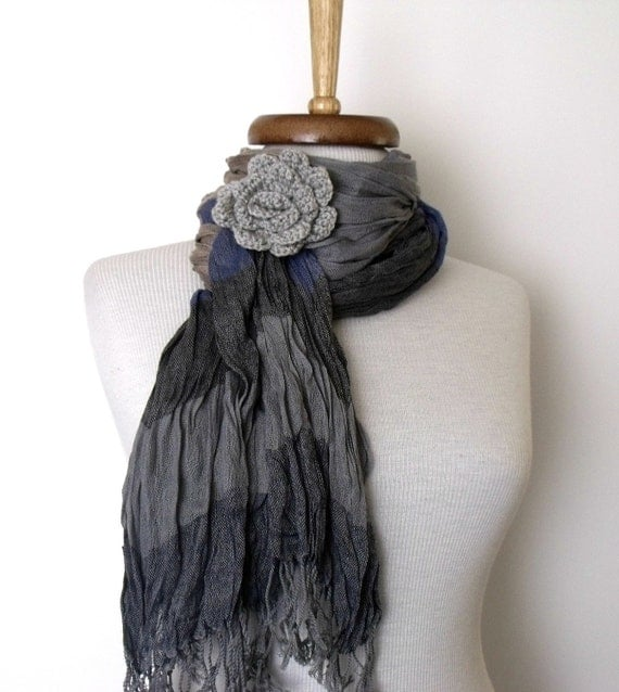 Grey Gossamer Cotton Scarf with flower brooch- Extra long-Ready for shipping-Black Friday and Cyber Monday  Sale-Christmas gift