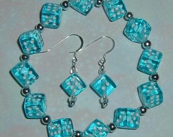Aqua Blue Dice Jewelry Set - Bracelet & Earrings - Bunco, Bunko, Casino, Poker Party gift