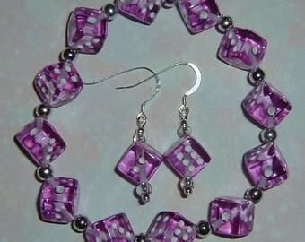 Purple Dice Jewelry Set - Bracelet & Earrings - Bunco, Bunko, Casino, Poker party