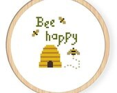 Instant Download,Free shipping,Cross stitch pattern, PDF,bee,be happy,zxxc0069