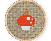 Instant download,free shipping,Cross stitch pattern, Cross-StitchPDF,mushroom and a little bird,zxxc0001