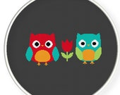 INSTANT DOWNLOAD,Free shipping,Cross stitch pattern, Cross-StitchPDF,red owl and blue owl,zxxc0247