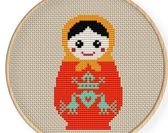 Instant download,free shipping,Cross stitch pattern, Cross-StitchPDF,Russian Doll NO.4,Matryoshka  Babushkas,zxxc0027