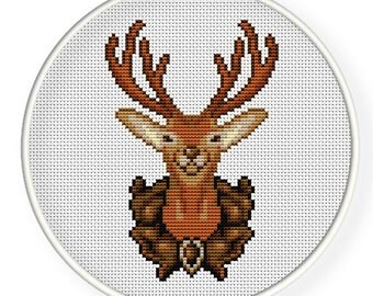Instant Download,Free shipping,Cross stitch pattern, PDF,Deer,ZXXC0106