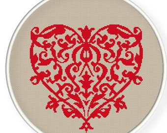Instant Download,Free shipping,Cross stitch pattern, Crossstitch PDF,flower heart , cross stitch pillow pattern,zxxc0204