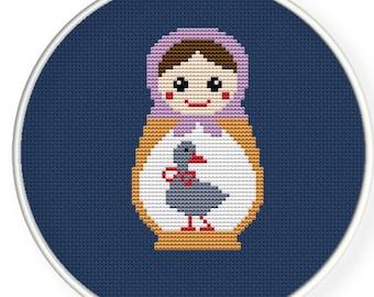 Instant download,free shipping,Cross stitch pattern, Cross-Stitch PDF,Mask Russian Doll ,Matryoshka  Babushkas,zxxc0241