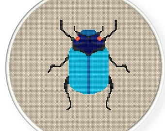 Instant download,free shipping,Cross stitch pattern, PDF,  blue beetle ,ZXXC0243