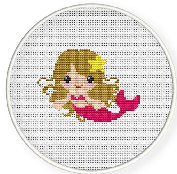 Instant Download,Free shipping,Counted Cross stitch pattern,Cross-Stitch PDF,Pink mermaid,zxxc0208