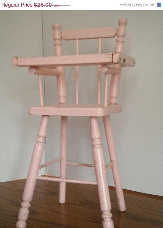 on sale baby doll high chair pink with serving tray vintage. Black Bedroom Furniture Sets. Home Design Ideas