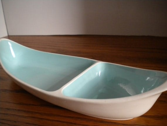 Taylor Smith Divided Relish Dish Turquoise and White China