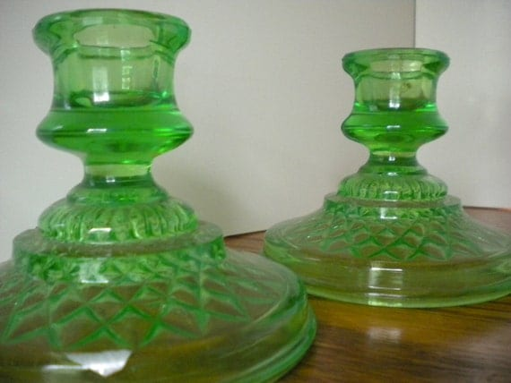 Candle Holder Green Vaseline Glass Set of Two