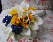 Yellow Cream Freesia and Calla Lily Silk & Real Touch Bridal Bouquet