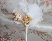White Orchid Seashell Boutonniere - Beach Wedding Accessory
