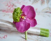 Fuchsia and Lime Orchid Boutonniere