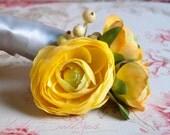 Yellow Ranunculus Wedding Corsage Prom Corsage