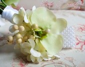 Wedding Corsage - Light Green Orchid and Hydrangea Corsage