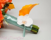 Wedding Boutonniere Orange Calla Lily Orchid Wedding Boutonniere with Aqua Blue Satin