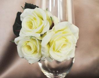 Ivory Rose Rhinestone Wristlet Corsage