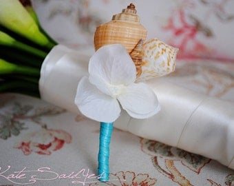Seashell and Cream Hydrangea Wedding Boutonniere