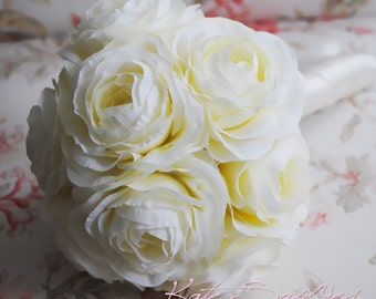 Wedding Bouquet Ivory Cream Ranunculus Silk Wedding Bouquet