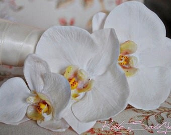 Three Orchid Real Touch Hair Pin