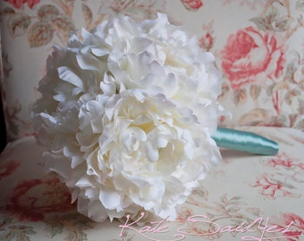 Ivory Peony and Aqua Blue Wedding Bouquet