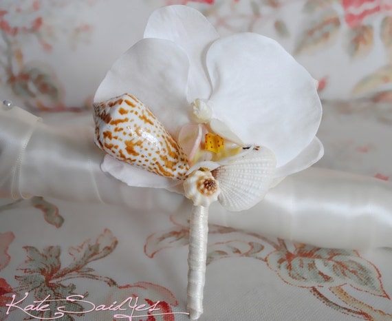 RESERVED Listing for olmeda08 - 1 White Orchid Seashell Boutonniere with Pool Blue Ribbon