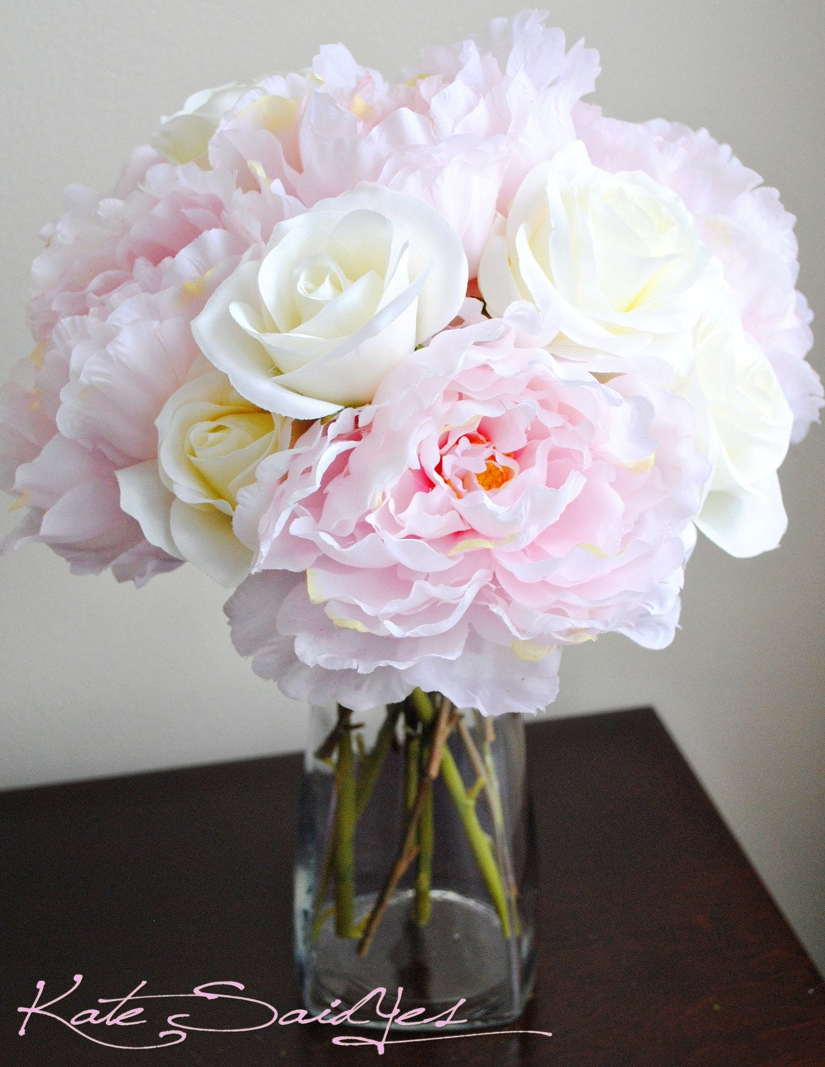 Light Pink Peonies Bouquet RESERVED Listing for S...