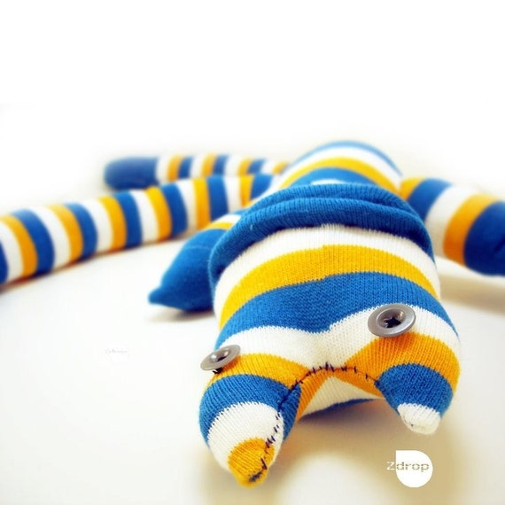Yellow-blue-white striped Sock- Creature - Colourful toy