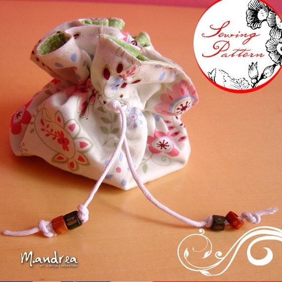 Items similar to drawstring jewelry travel pouch sewing for Drawstring jewelry bag pattern