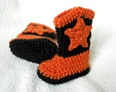 Cowboy Baby Booties with Star in Orange and Black