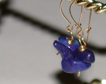 Blue LAPIS Lazuli and Gold Earrings Drop Dangly